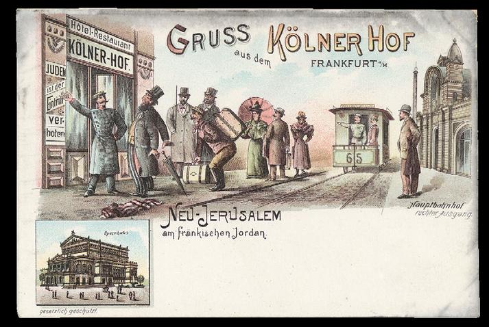"""""""Gruss aus dem Kölner Hof"""". Selbstverlag Kölner Hof, Frankfurt am Main, ohne Datum, ohne Poststempel, um 1898."""