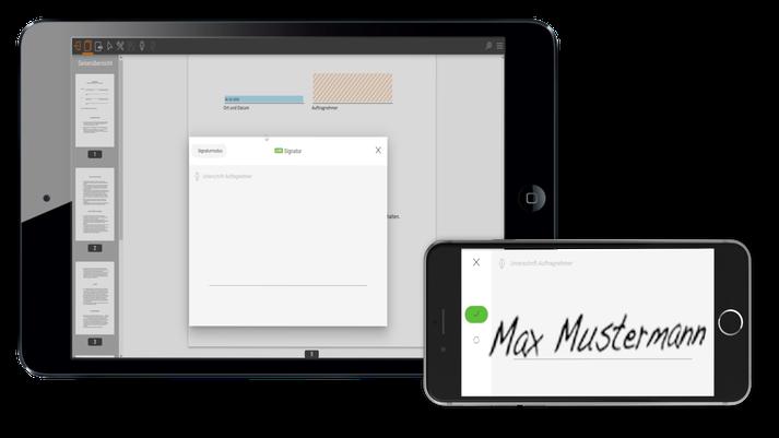 Handy und Tablet digitale Unterschrift