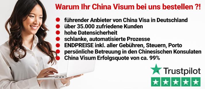 China Visa Service 5 Sterne Service. Günstig, zuvelässig, schnell