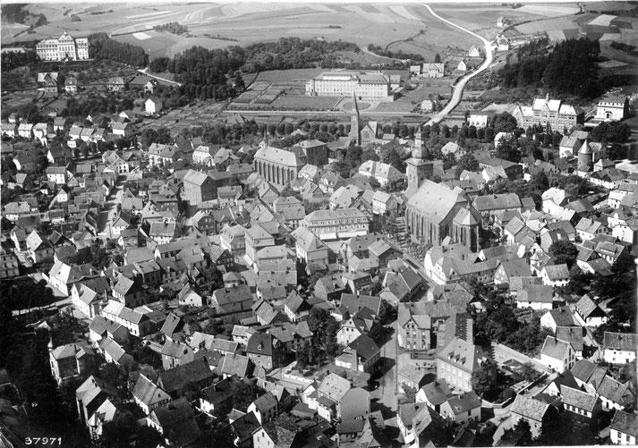 Luftbildaufnahme von Attendorn aus dem Jahr 1937.