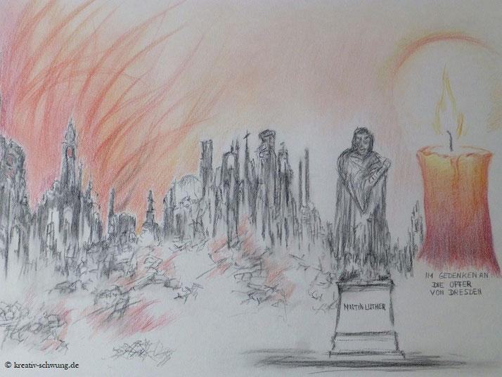 Zerstörung Dresdens durch den Feuersturm, Rechts ein Licht für die Opfer