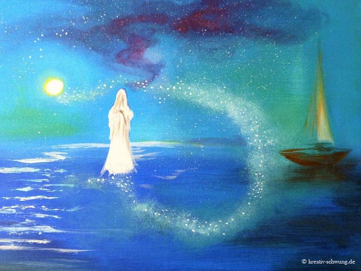 Jesus auf dem Wasser, Acryl 2018