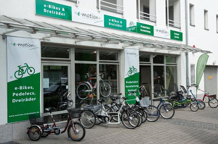 Auf großer Ladenfläche können Sie sich im Shop in München Süd zahlreiche e-Mountainbikes ansehen und probefahren.