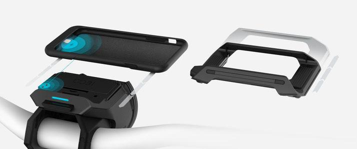 Die Anbringung des COBI Hubs zur Befestigung des Smartphones ist einfach und unkompliziert