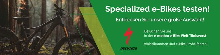 Banner Einladung zum Testen von Specialized e-Bikes in Tönisvorst