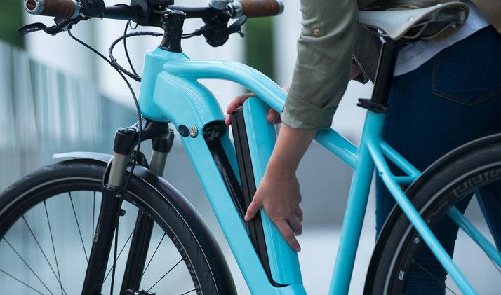 Der integrierte Akku Bosch Power Tube für e-Bikes