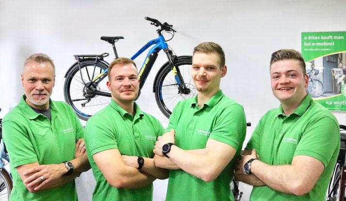 Das Verkaufsteam der e-motion e-Bike Welt Dietikon