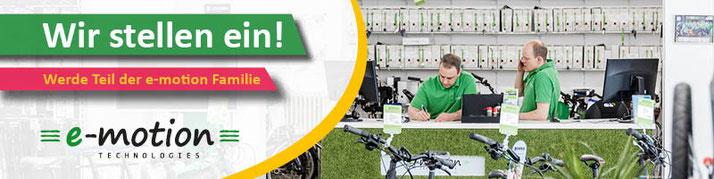 Jobs und Stellenangebote als e-Bike Verkäufer, Verkaufsberater, Mechaniker und mehr in der e-motion e-Bike Welt Bonn