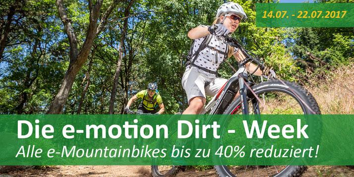 Nicht verpassen: Die e-motion Dirt-Week mit Rabatten bis zu 40%