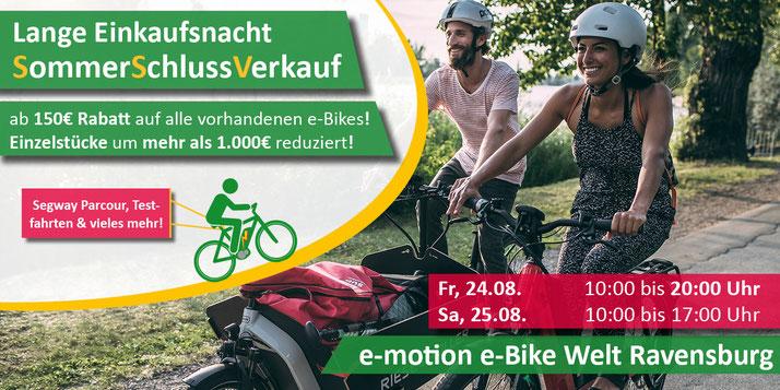 Lange Einkaufsnacht und Sommerschlussverkauf in der e-motion e-Bike Welt Ravensburg