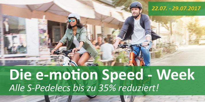 Nicht verpassen: Die e-motion Speed-Week mit Rabatten bis zu 35%
