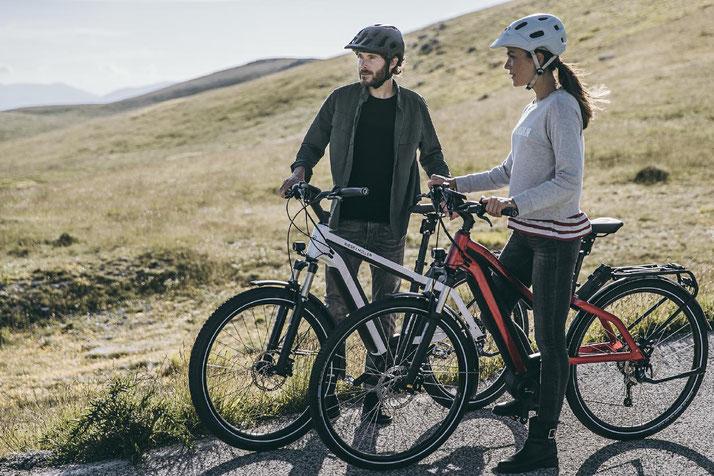 Im Shop in Frankfurt können Sie alle unterschiedlichen Ausführungen von Trekking e-Bikes kennenlernen.