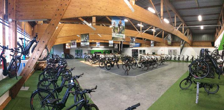 Lasten e-Bikes auf der großen Ladenfläche der e-motion e-Bike Welt in Ahrensburg testen
