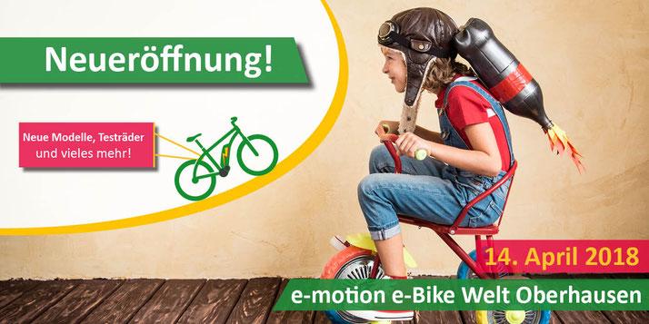 Die e-motion e-Bike Welt Oberhausen feiert Eröffnung am 14. April 2018