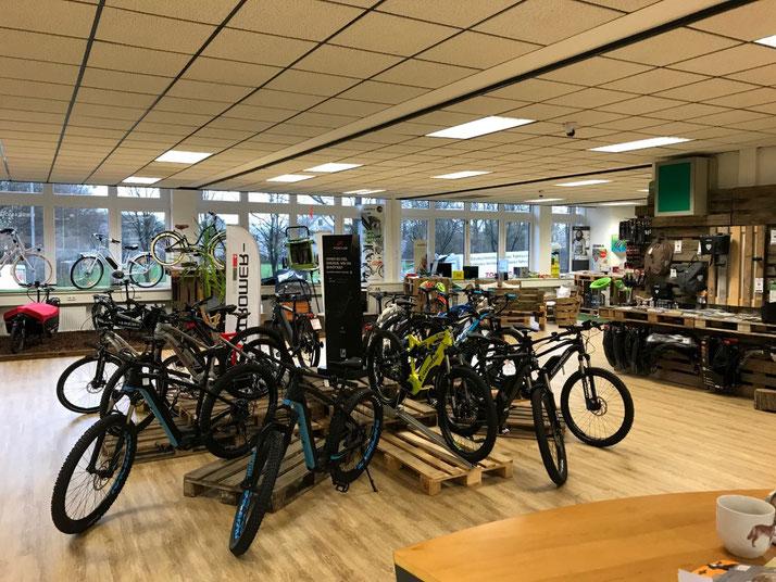 Auf großer Ladenfläche können Sie sich im Shop in Bielefeld zahlreiche e-Mountainbikes ansehen und probefahren.