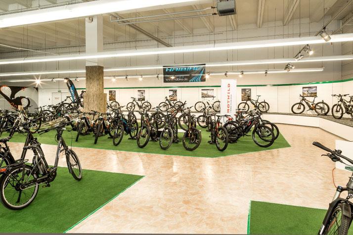 Auf großer Ladenfläche können Sie sich im Shop in Nürnberg West zahlreiche e-Mountainbikes ansehen und probefahren.