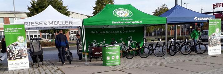 e-Bikes, Pedelecs, Elektrodreiräder, Lasten e-Bikes probefahren beim ersten Elektromobilitätstag in Oberhausen