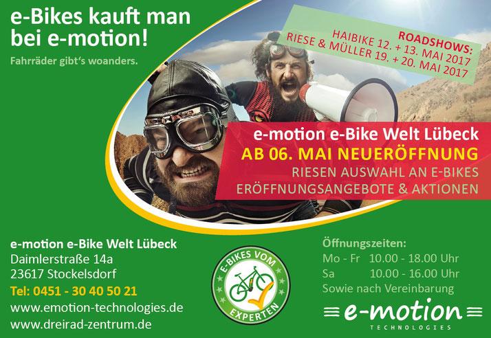 Eröffnungsangebot für e-Bikes und Pedelecs mit Haibike und Riese und Müller in Lübeck im Mai 2017