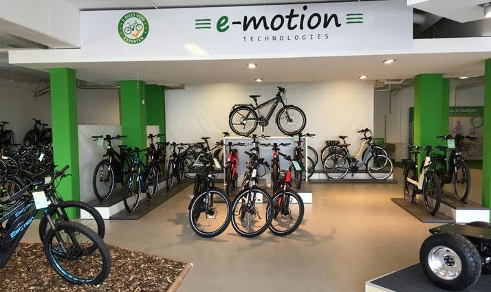 e-Bikes, Pedelecs und Speed Pedelecs anschauen, kaufen und Probefahren in der e-motion e-Bike Welt Göppingen