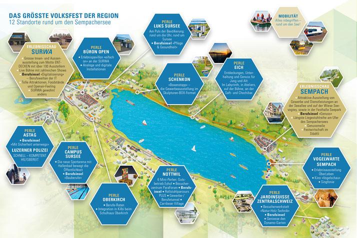 Legende: Das grösste Volksfest der Region findet an insgesamt 12 Standorten statt