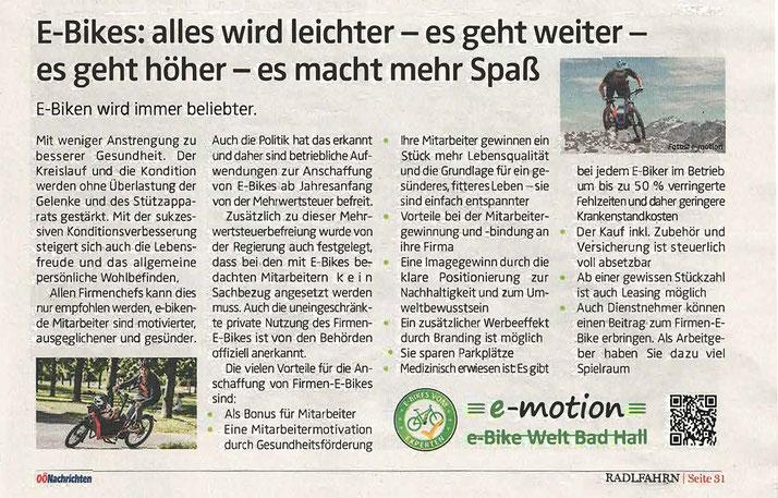 Zeitungsartikel - Magazin e-Biken wird immer beliebter - Die unverzichtbaren Gründe für die Anschaffung eines e-Bikes