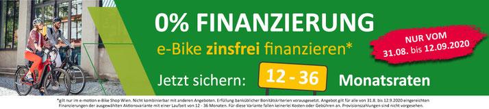 e-Bike 0% Finanzierungsaktion bei e-motion Wien