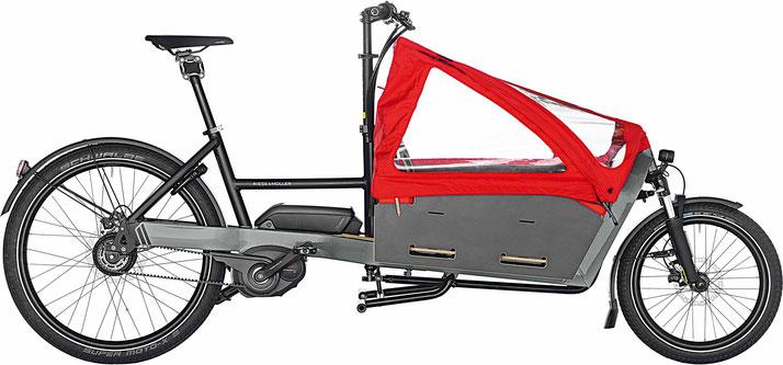 Riese & Müller Packster 60 Vario / Packster 60 Vario HS 2019 - urban grey mit Kindersitz und Kinderverdeck