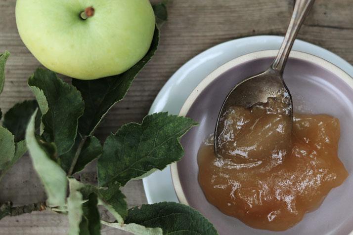 Apfel-Rhabarber-Marmelade von oben auf einem Teller