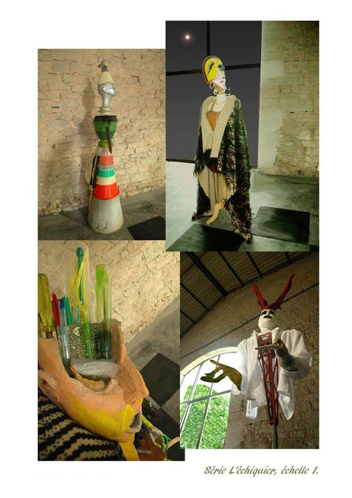 Un échiquier géant, avec des pièces allant jusqu'à 2 m de haut, installation au Château d'Autrey-lès-Gray, France 2004. Cette oeuvre a été produite suite à un séjour de 2 ans en Afrique et à mon retour en France.