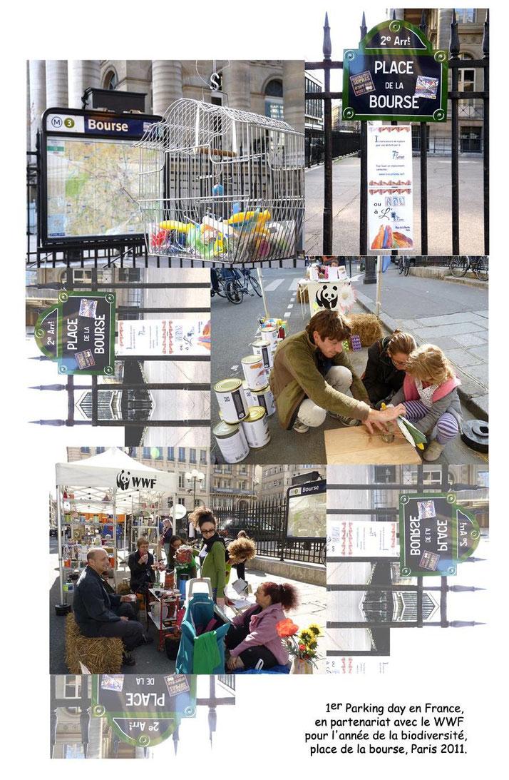 en partenariat avec le WWF, Biodiversité, place de la Bourse, Paris, 2011. Installation de l'Epicerie du septième continent, le continent de plastique.