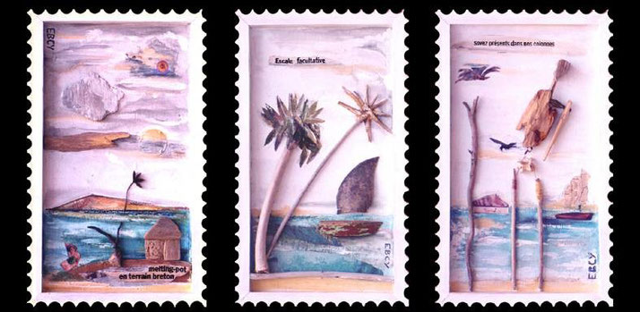 """Trois timbres en série limitée pour envoyer vos cartes postales et vos courriers lors de vos vacances. Au choix, """"Melting-pot en terrain breton"""", """"Escale facultative"""" et """"Soyez présents dans nos colonnes"""", Ghana 2001."""