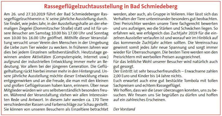 Bericht im Amtsblatt der Stadt Bad Schmiedeberg im Oktober 2019