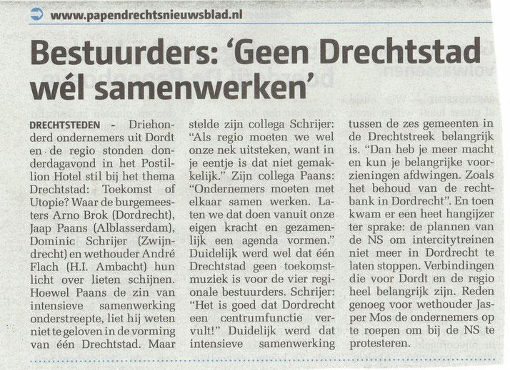 Artikel verschenen in het Papendrechts Nieuwsblad van 23 september 2015