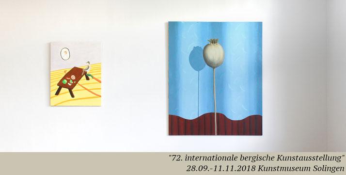 Artist Pia Krajewski, oT (Mohn), 2018, oil on canvas, 180x150, 72. internationale bergische Kunstausstellung, Kunstmuseum Solingen, painting