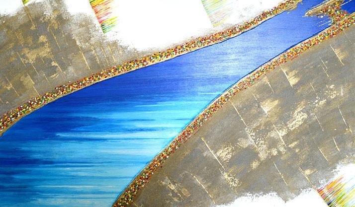 Bild mit Donau Sand, Kunst aus Nussdorf