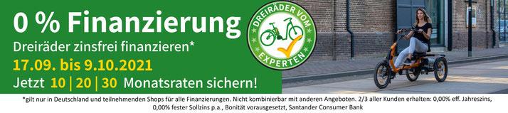 0%-Finanzierung für Dreiräder und Elektrodreiräder