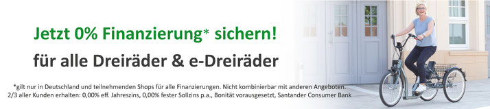 e-Bikes und Pedelecs 0% Finanzieren im e-motion Dreirad-Zentrum Erding