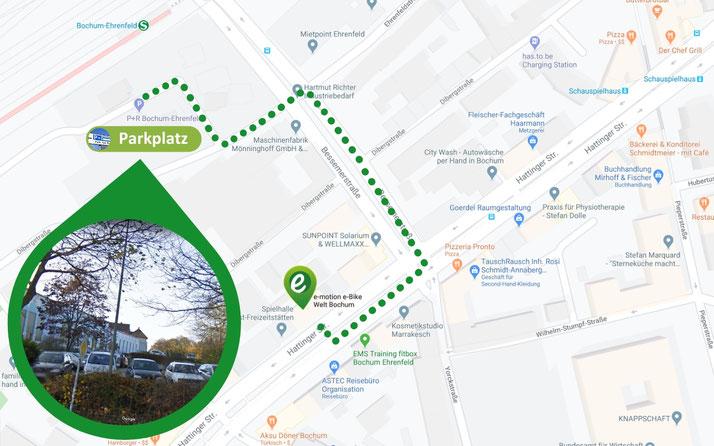 Parken in unmittelbarer Nähe von der e-motion e-Bike Welt Bochum