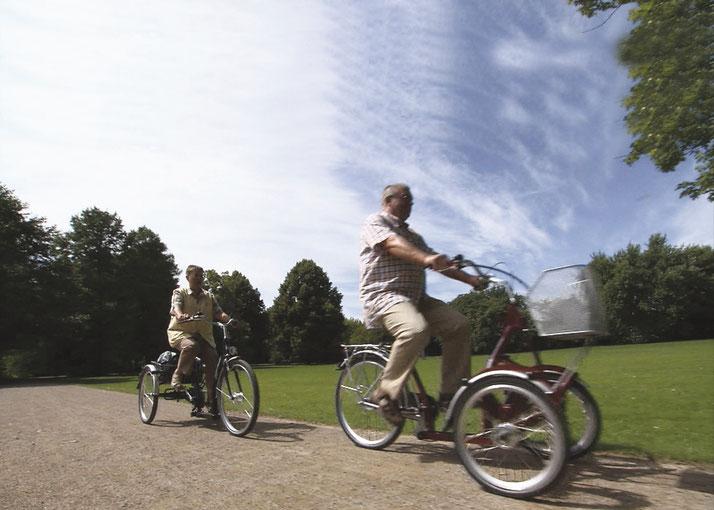 Mit einem zusätzlichem Akku können Sie die Reichweite Ihres Dreirads verdoppeln und längere Touren zurücklegen