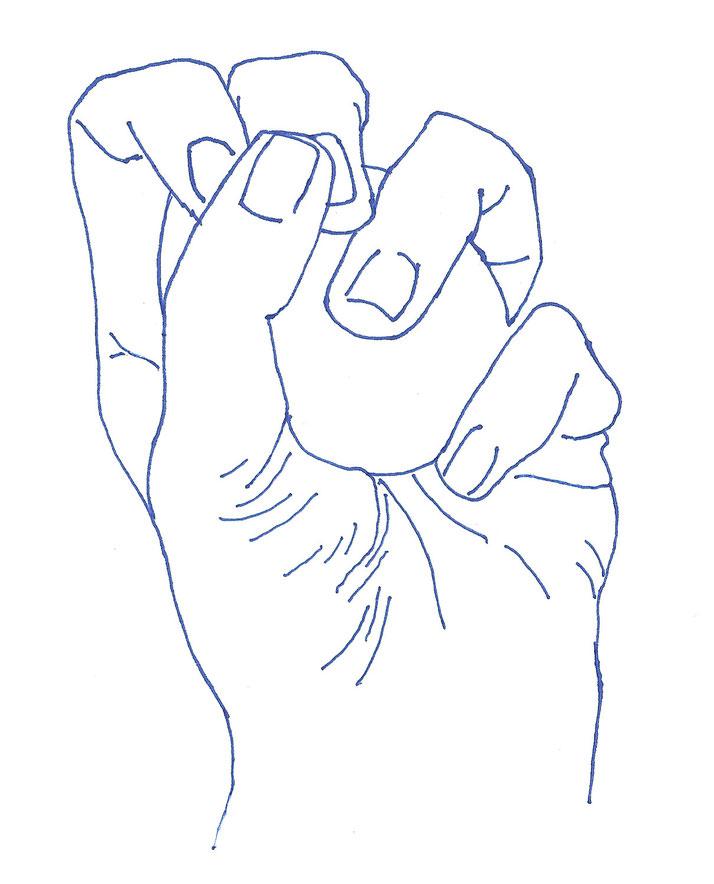 Zeichnung. Veronika Merklein, blauer Fineliner auf Papier, 21 x 29,7cm