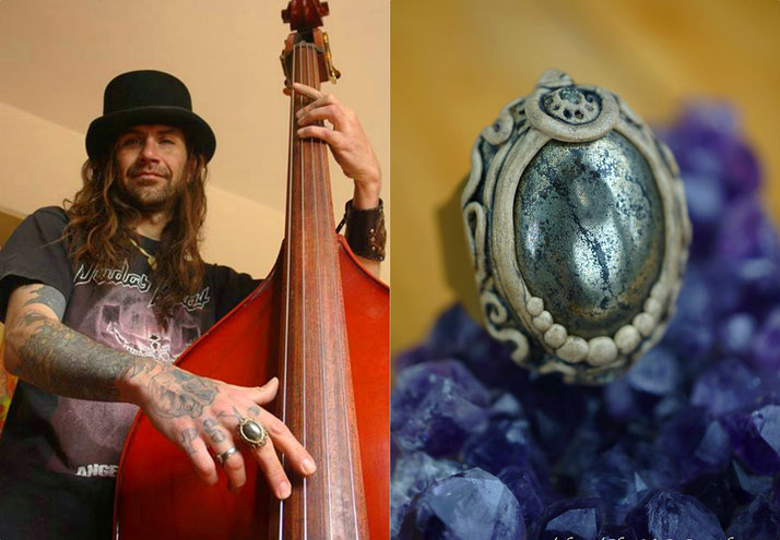 Spanish musician Mauricio with ChaNoJa Pyrite statement ring