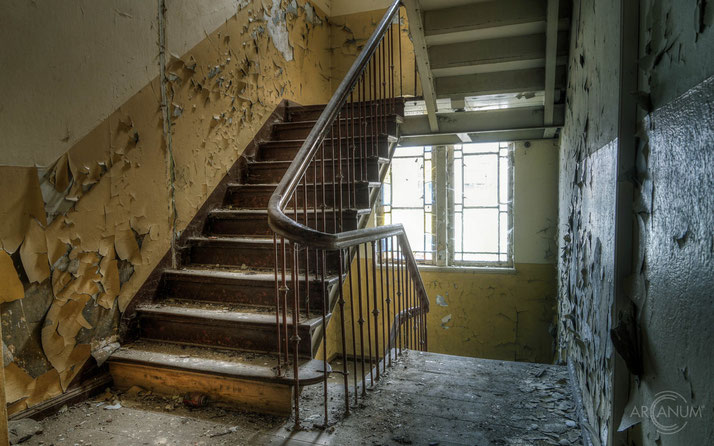 Stairs in an abandoned courthouse in Northern Germany