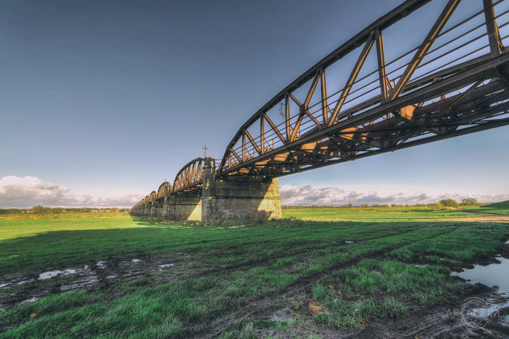 Partially demolished railway bridge in Germany