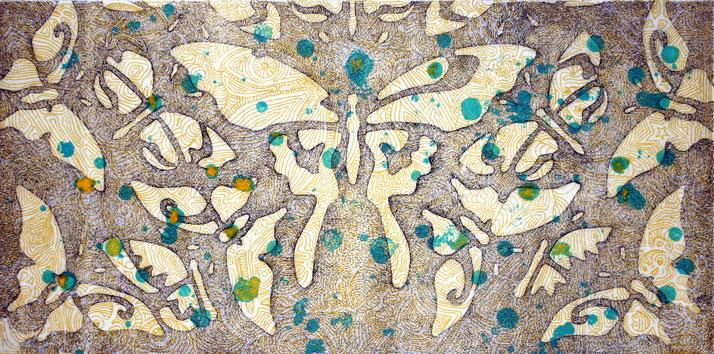 Schmetterlinge in Knochen, Farbradierung von Gabi Klinger