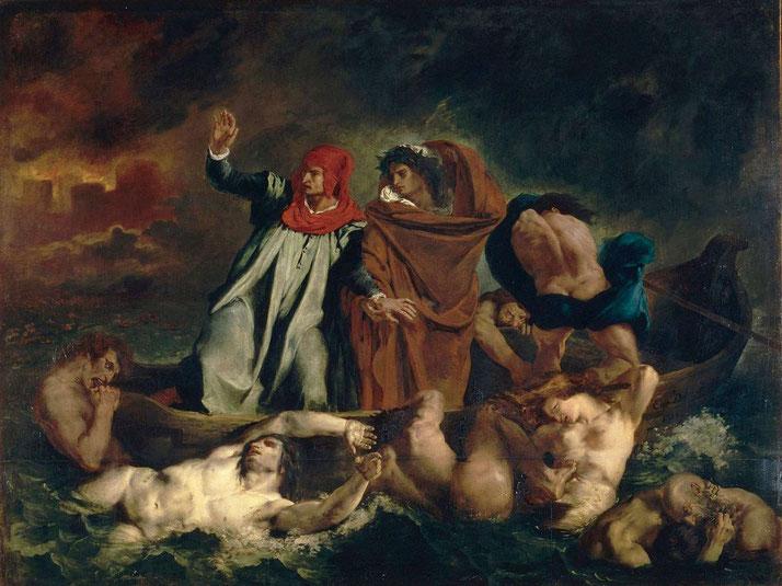 """Delacroix, """"La barca di Dante"""" (1822)"""
