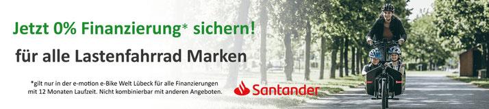 0%-Finanzierung für e-Lastenfahrrad, Pedelecs und Elektrofahrräder bei den e-motion e-Bike Experten in Lübeck