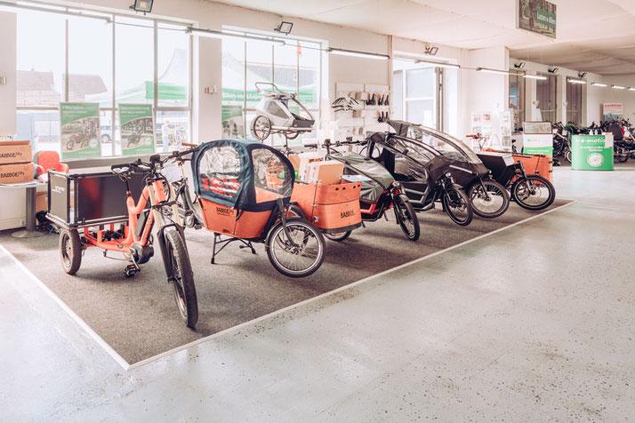 Eine große Auswahl verschiedener Lasten e-Bike Modelle finden Sie in dem Lastenfahrrad-Zentrum in Karlsruhe