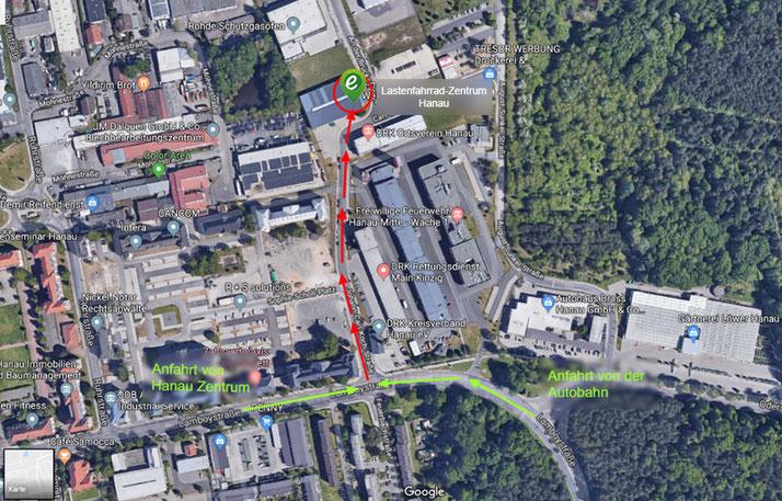 So finden Sie uns - Anfahrt zum Lastenfahrrad-Zentrum Hanau