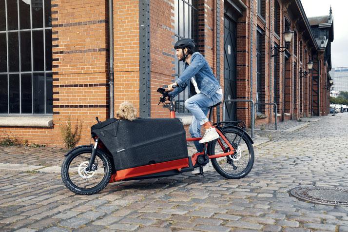 mit dem Lasten e-Bike durch die Stadt