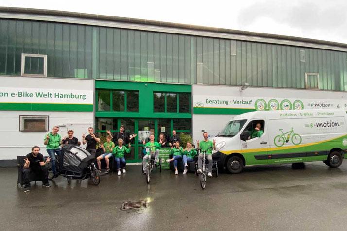 Das Team des Lastenfahrrad-Zentrums Hamburg